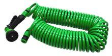 TOPTRADE hadice zahradní,spirálová,pistole plastová–rozstřikovač,7 funkcí,na rychlospojky,sada,22m