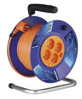 kabel prodlužovací, oranžový, na odvíjecím bubnu, 4 zásuvky, 25 m, ~ 230 V / 16 A