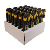 TOPTRADE nůž odlamovací, plastový, s kovovou výztuhou a šroubovou aretací, v prodejním kartonu, sada 24 ks, 18 mm