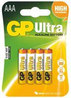 baterie GP Ultra Alkaline, LR03, mikrotužka AAA, blistr 4 ks, 1,5 V