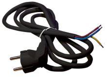 šňůra flexo, PVC, černá, vidlice úhlová, neoddělitelná, 3 m,  vodič 3 x 1,5 mm