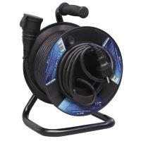 kabel prodlužovací, gumový, černý, na odvíjecím bubnu, 1 zásuvka a spojka, 25 m, ~ 230 V