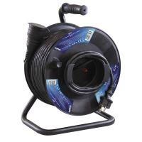 kabel prodlužovací, gumový, černý, na odvíjecím bubnu, 1 zásuvka a spojka, 50 m, ~ 230 V