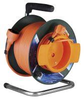 kabel prodlužovací, oranžový, na odvíjecím bubnu, se spojkou, tepelná pojistka, 50m,~230V/16A