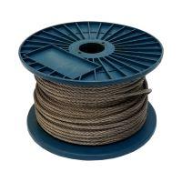 TOPTRADE lano ocelové, pozinkované, na cívce, 7 x 7 drátů, O 3 mm x 200 m