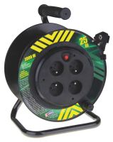 kabel prodlužovací, PVC, černý, na odvíjecím bubnu, 4 zásuvky, pevný střed, 25m,~230V/13A