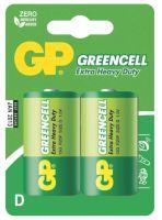 baterie GP Greencell, zinko – chloridová  R20, velké mono D, blistr 2 ks, 1,5 V