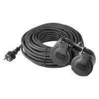 kabel prodlužovací, gumový, 2 zásuvky, 15 m, 250 V~/16 A, IP 44