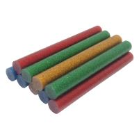 TOPTRADE lepidlo tavné, 4 barvy se třpytkou - červená, žlutá, modrá, zelená 11,2 x 100mm, 10 ks