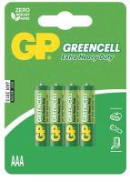baterie  GP Greencell, zinko – chloridová, R03, mikrotužka AAA, blistr 4 ks,  1,5 V