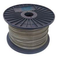 TOPTRADE lano ocelové, pozinkované, v PVC bužírce, na cívce, 7 x 7 drátů, O 3/4 mm x 100 m