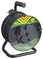 kabel prodlužovací, černý, guma, na odvíjecím bubnu, 4 zásuvky, tepelná pojistka, 25m,~ 230V/16A