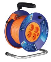 kabel prodlužovací, oranžový, na odvíjecím bubnu, 4 zásuvky, 50 m, ~ 230 V / 16 A